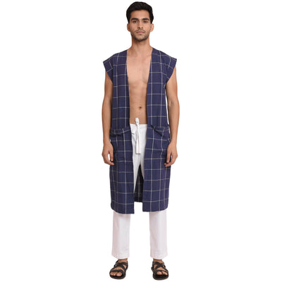 CHECK KHADI LONG OVERLAY JACKET Jacket Vayu