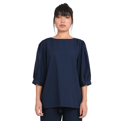 Elaborate Shoulder Blue Popline Top Top Vayu