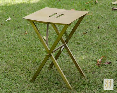 Foldable Brass Side Table Tables Vayu