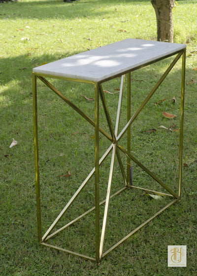 Geometric Handcrafted Brass Console Table Tables Vayu