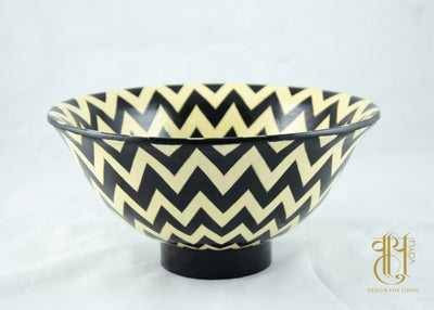Hand Painted Chevron Pattern Papier Mache Bowl Bowl Vayu