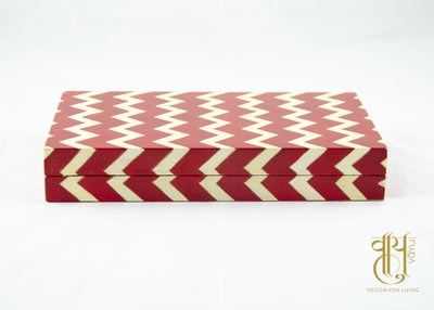 Hand Painted Chevron Pattern Papier Mache Box Pen/Jwellery box Vayu