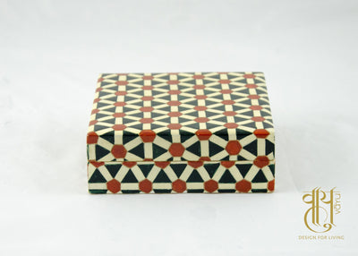 Hand Painted Geometric Pattern Papier Mache Coaster Coaster Vayu
