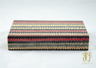 Hand Painted Zigzag Stripe Pattern Papier Mache Box Pen/Jwellery box Vayu