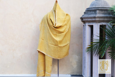 Mustard Color Ahimsa Dupatta With Pure Zari Borber Shawl Vayu