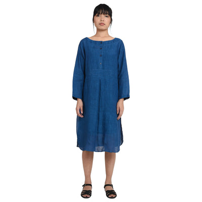 Patch Indigo Khadi Linen Dress Dress/Kurta Vayu