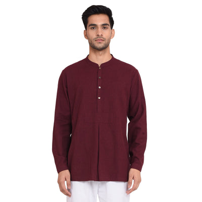 PATCH MAROON WOOL MANDARIN SHIRT Shirt Vayu