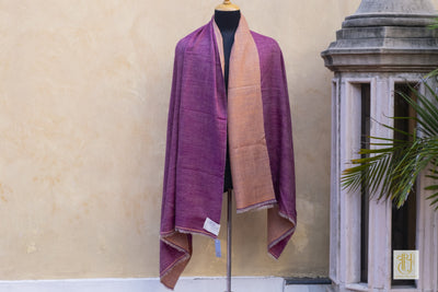 Plum And Apricot Color Reversible Pashmina Shawl Vayu