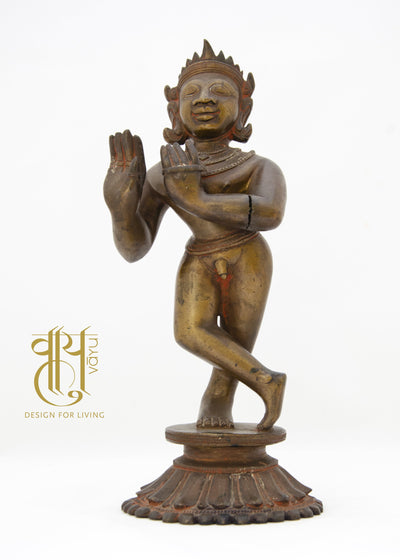 Sculpture Depicting Lord Krishna Playing Flute Object Vayu