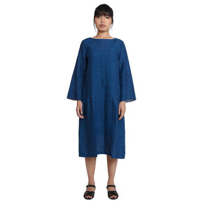Three Panel Indigo Khadi Linen Dress Dress Vayu