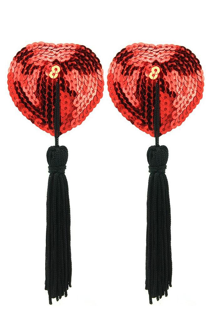 Sequined Heart Pasties With Tassels