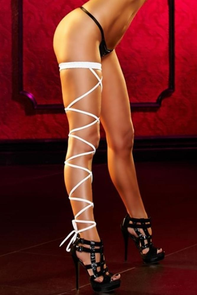 White Lace-Up Sexy Garter