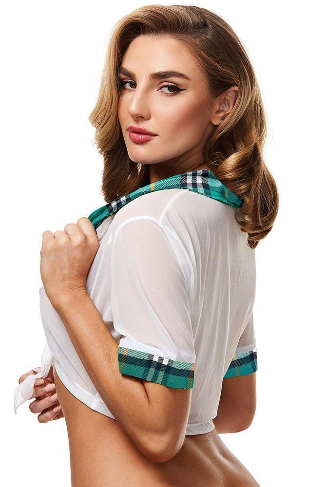Teacher's Pet Schoolgirl Turquoise Top