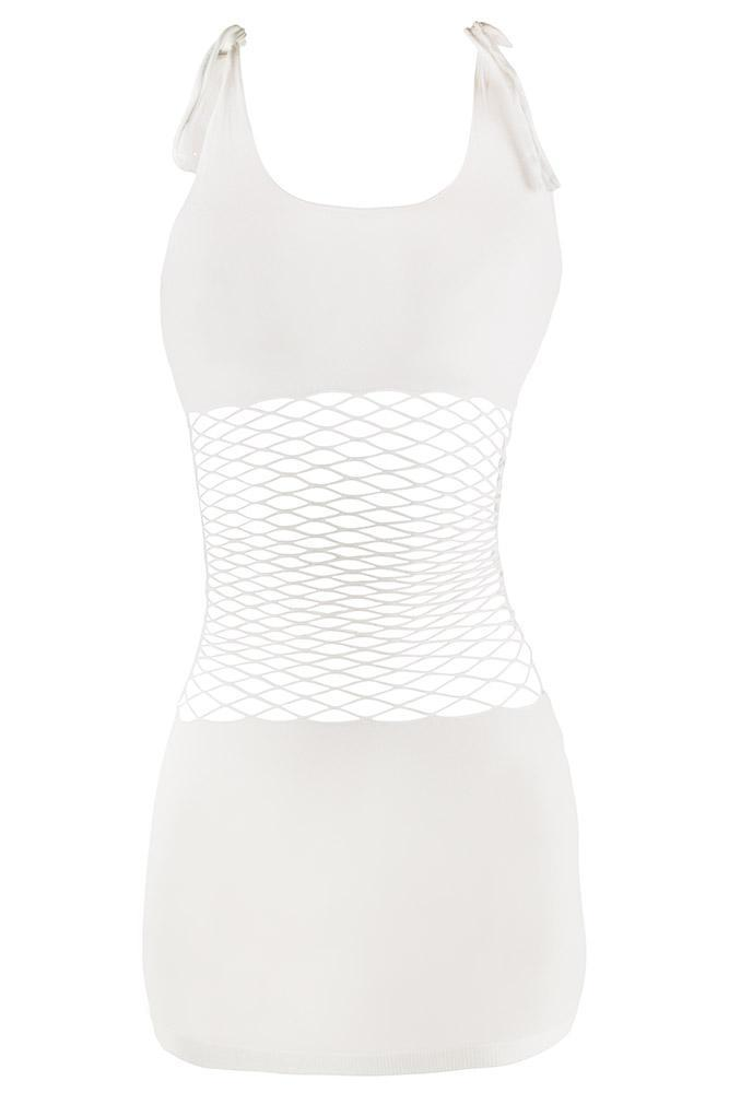 White Fencenet and Opaque Panel Mini Dress
