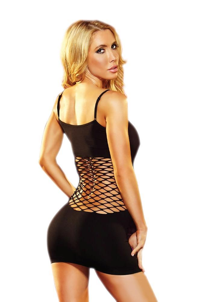 black cash cage mini dress