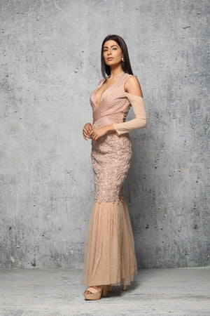 Powder pink crystal gown