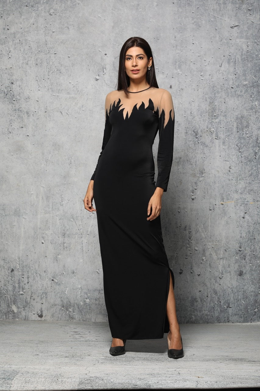 Black baronette gown