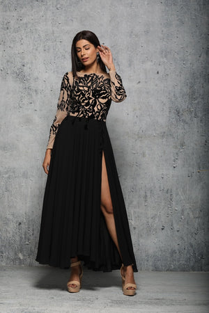 Black and nude lazer cut dress