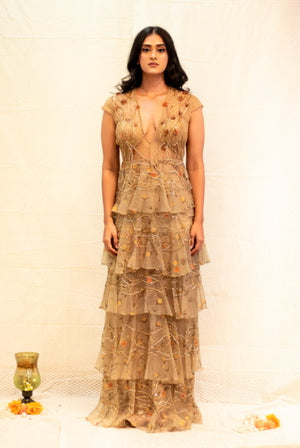 Gold silk net gown