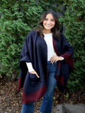 Maroon and Navy Colourblock Cape with Pockets