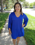 Balloon Statement Sleeve Dress in Royal Blue