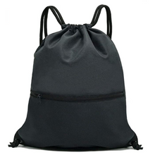 Load image into Gallery viewer, Black Drawstring Backpack Sports, Gym Bags SackPacks - String Bag
