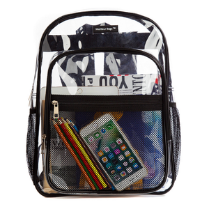 Clear Transparent Multi-Pocket Backpack for School, Outdoors Bags - Black Trim