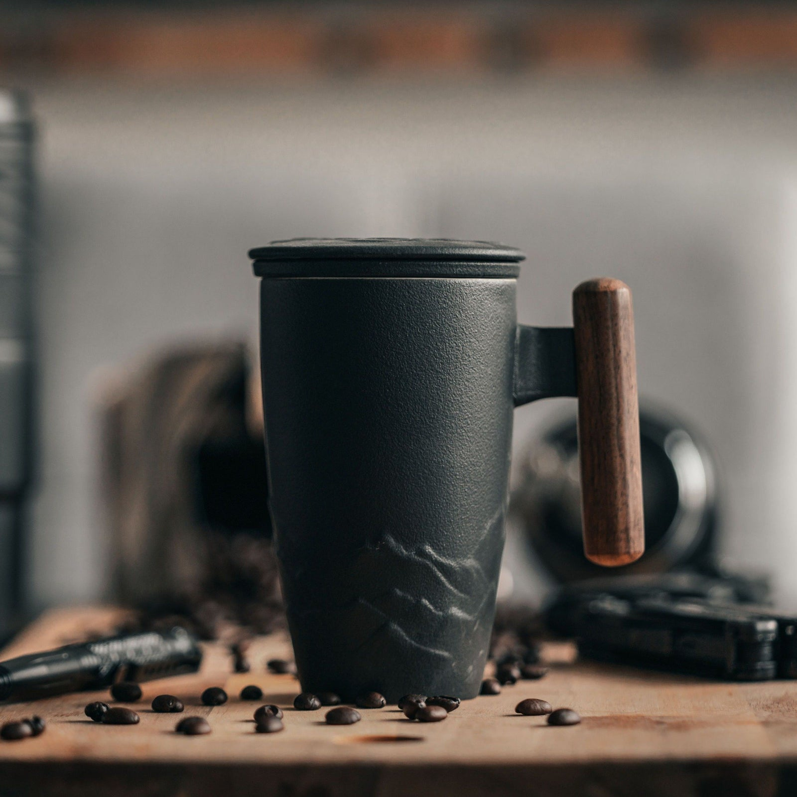 Nepal Ceramic Coffee and Tea Mug with wood handle - Strainer and lid included