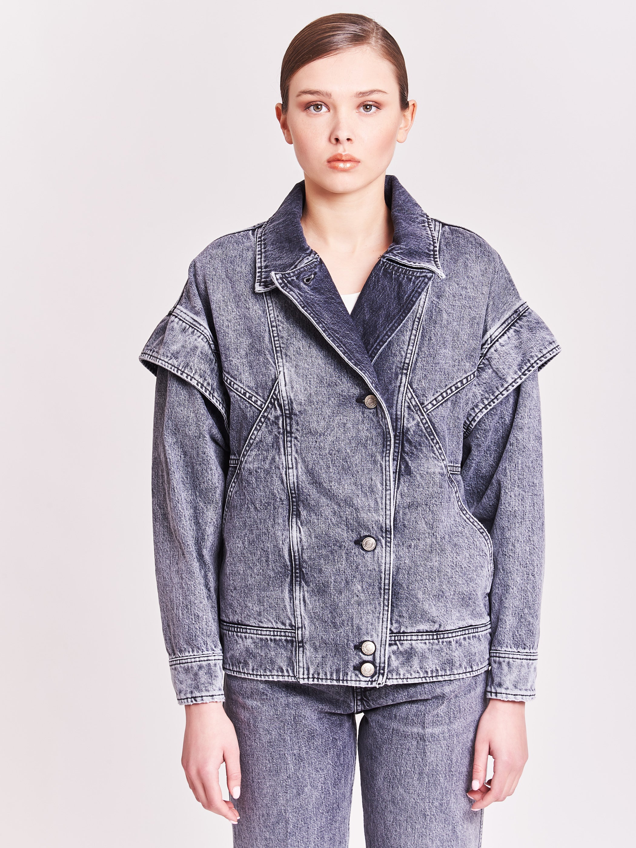 Denim jacket with ruffles