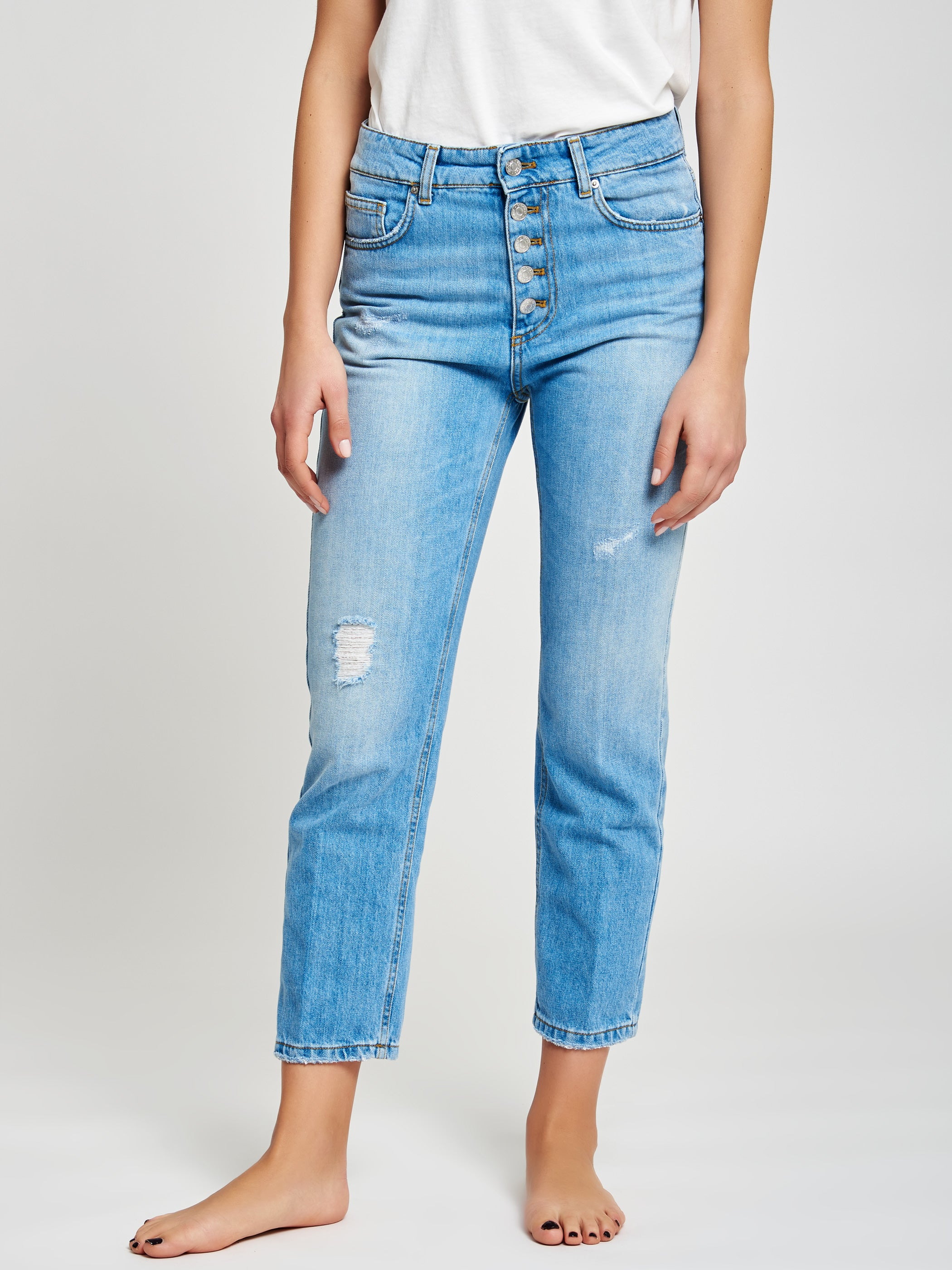 Straight-leg jeans with buttons