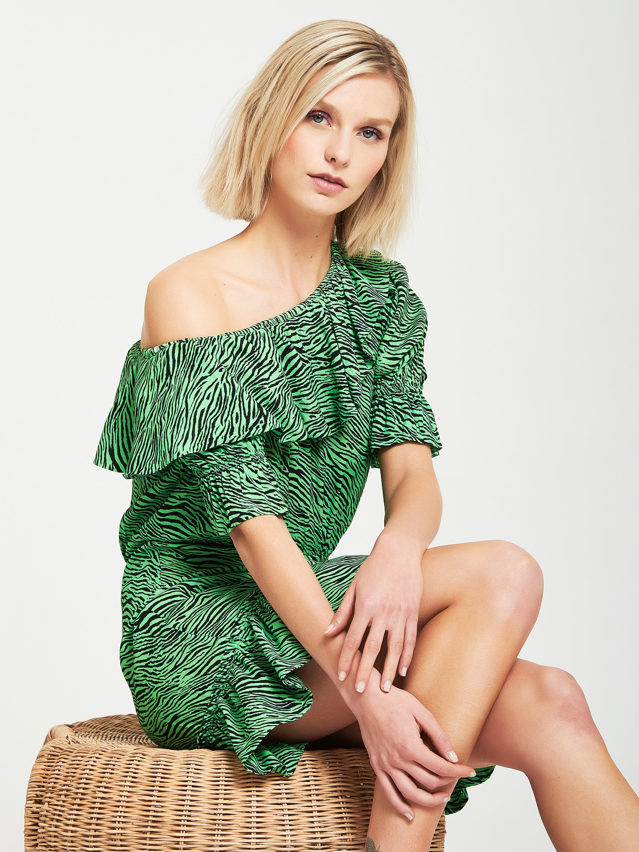 Asymmetric printed dress