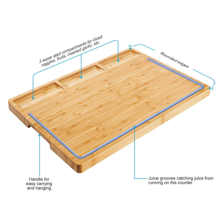 HHXRISE  Large Natural Bamboo Cutting Board For Kitchen With Tray