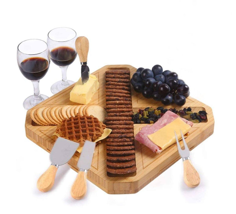HHXRISE Square Natural Bamboo Cheese Board and Knife Set