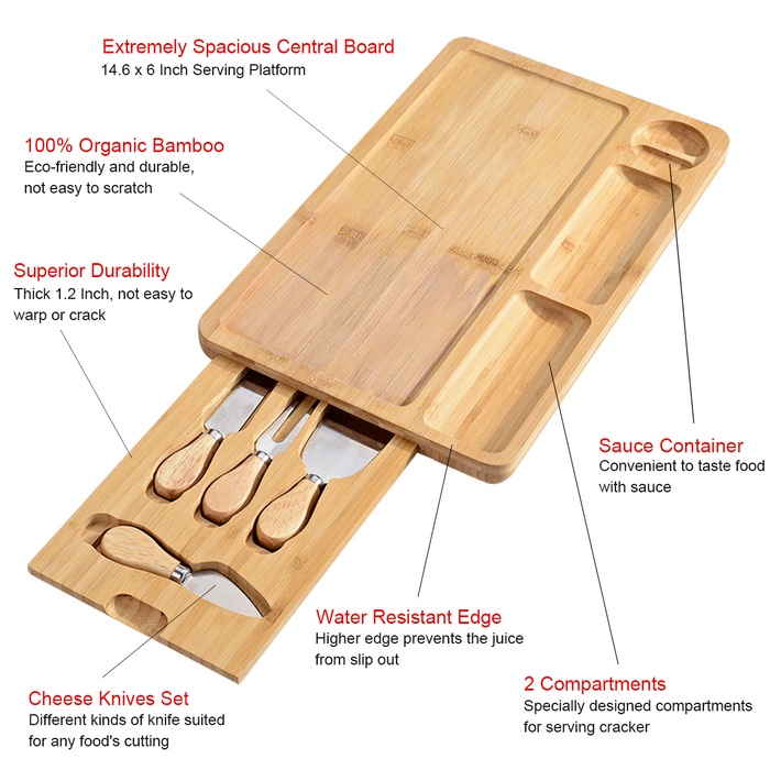 HHXRISE Natural Bamboo Wooden Cheese Board