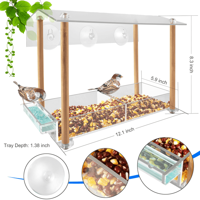 HHXRISE Acrylic Window Bird Feeder Bamboo Pillars W005