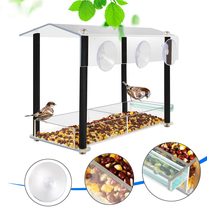 HHXRISE Acrylic Window Bird Feeder Black W005