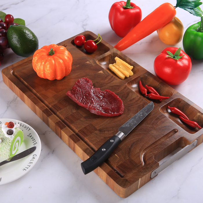 HHXRISE Large Natural Thick  Acacia Wood Cutting Board With Handle
