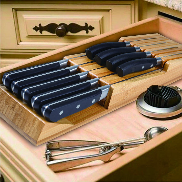 HHXRISE Small Natural Bamboo In-Drawer Removable Knife Block Set