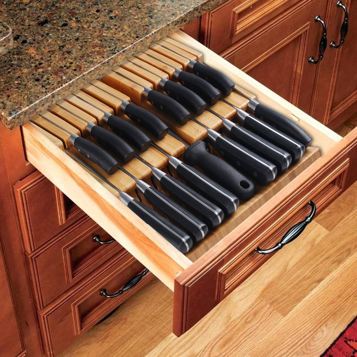 HHXRISE Large Natural Bamboo In-Drawer Removable Knife Block Set