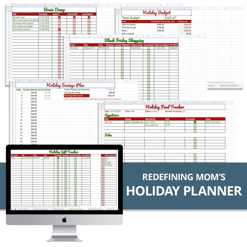 Redefining Mom's Holiday Planning Spreadsheet