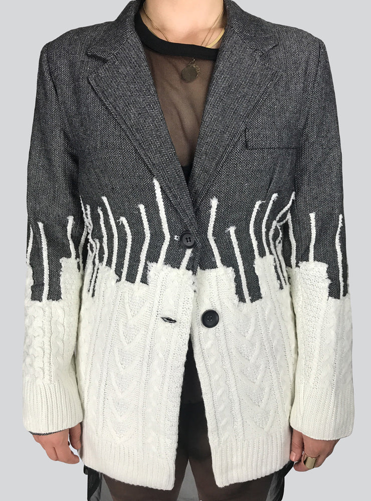MIXED MEDIA BOYFRIEND BLAZER JACKET