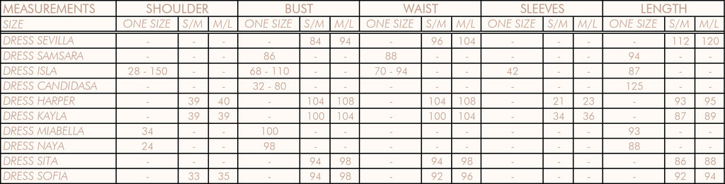 Asmra Butik - Size Chart - Dress