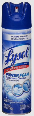 Lysol POWER FOAM Bathroom Cleaner, 24 oz. - Kills 99.9% of bacteria & viruses