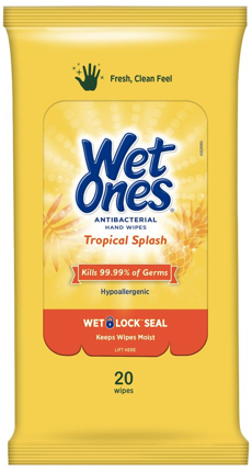 Wet Ones Antibacterial Hand Wipes Travel Pack, Tropical Splash, 20 Ct x1 -Kills 99.99% of germs while wiping away dirt and messes!