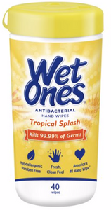 Wet Ones Tropical Splash, 40 ct  x1 - Kills 99.99% of germs while wiping away dirt and messes