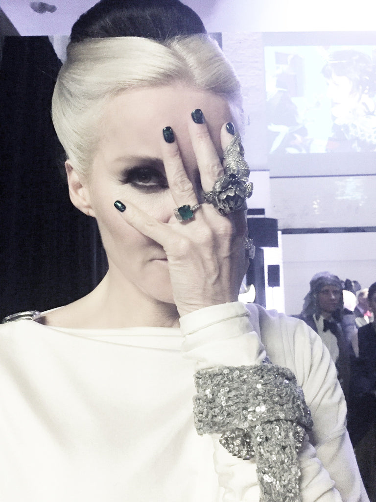 Daphne Guinness and her bespoke Heart of Bone rings
