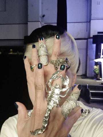Daphne Guinness at 'A fashionable Life' wearing the Heart of Bone Scorpion ring and a custom made Heart of Bone black diamond Isabella Blow portrait skull ring