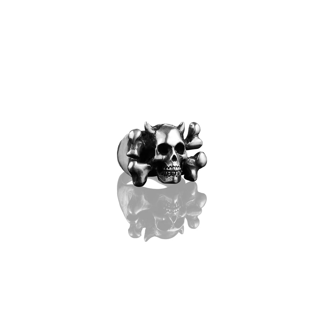 Mens Devil Crossbones Ring