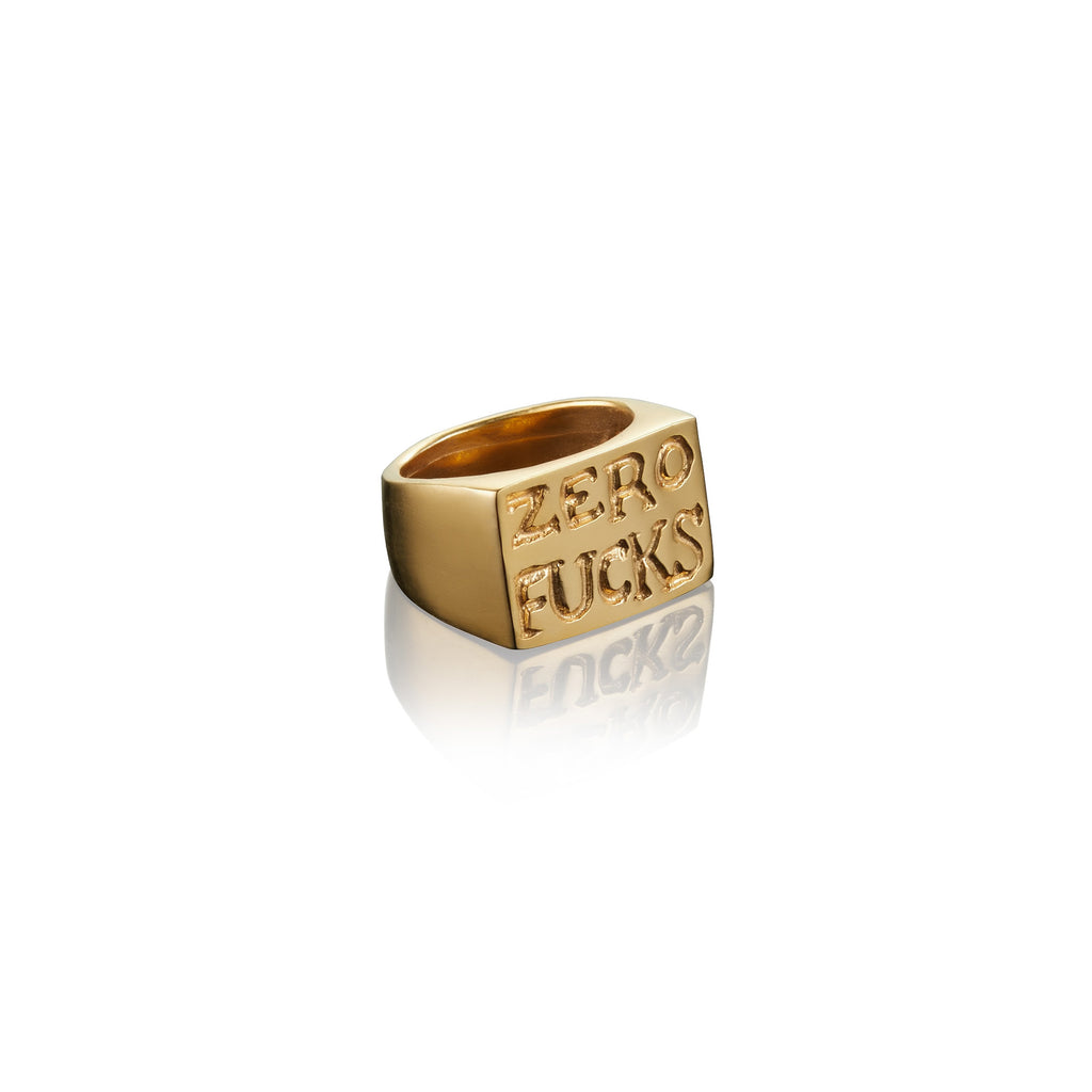 Zero Fucks Rectangular Signet Ring