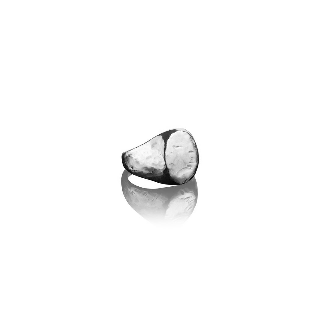 Large Hammered Oval Signet Ring